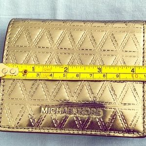 Flap card holder leather gunmetal money pieces